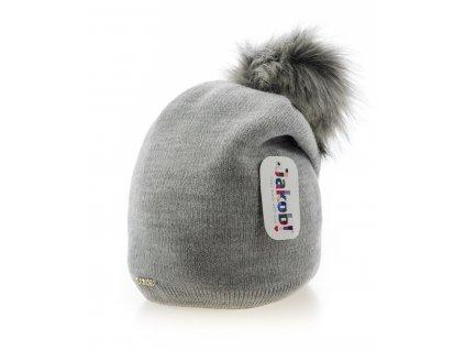 Sivá zimná dámska homeless čiapka s veľkým brmbolcom - Jacob
