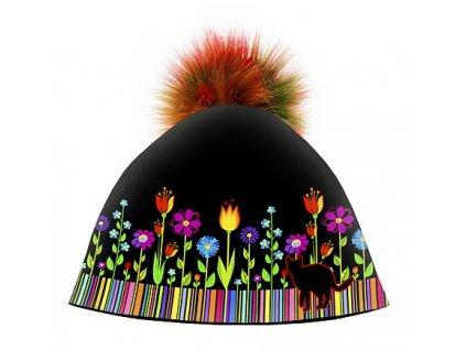 Dizajnová dámska čiapka s veľkým brmbolcom- Folk