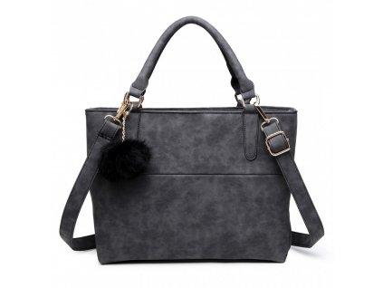 Miss Lulu - žíhaná kabelka - čierna