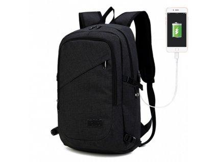 Chytrý batoh novej generácie s USB portom  - čierny