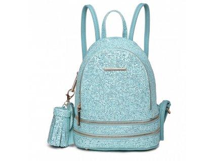 Roztomilý dizajnový batôžtek - modrý s trblietkami