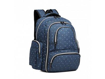 Prebalovací batoh s doplnkami na kočík - modrý bodkovaný