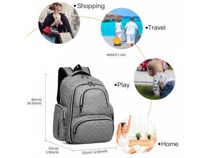 Prebalovací batoh s doplnkami na kočík - sivý bodkovaný