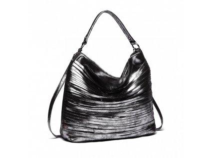 Elegantná štýlová dámska kabelka s prúžkami na rameno - čierna