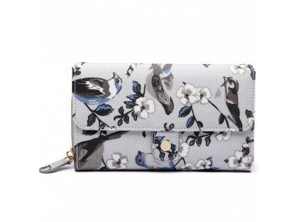 Praktická peňaženka - sivá s vtáčikmi