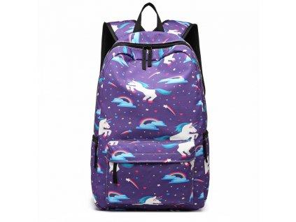 Školský batoh - Unicorn - jendnorožci - fialový