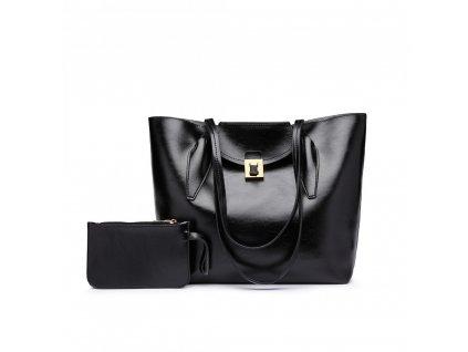Elegantná dámska kabelka s peňaženkou - čierna