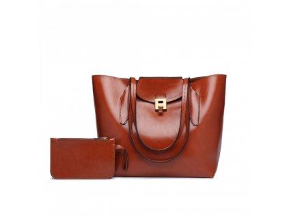 Elegantná dámska kabelka s peňaženkou - hnedá