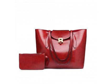 Elegantná dámska kabelka s peňaženkou - červená