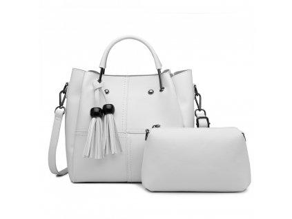 Luxusná dizajnová kabelka so strapcami - biela