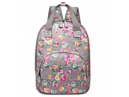 Dizajnový batoh na chrbát s potlačou - šedý - kvetiny