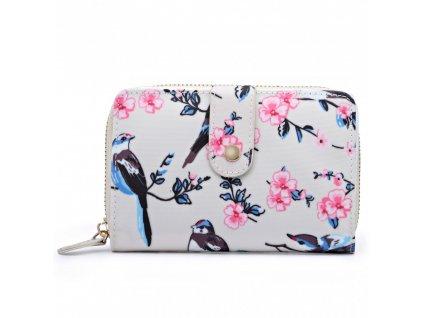 Dámska peňaženka - béžová s vtáčikmi - malá