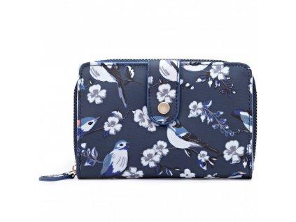 Dámska peňaženka - tmavo modrá s vtáčikmi - malá