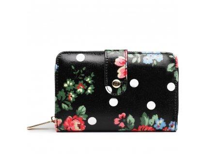Dámska peňaženka - čierna bodkovaná s ružami - malá
