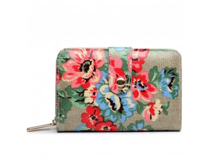Dámska peňaženka - sivá bodkovaná s ružami - malá
