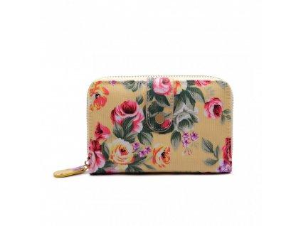 Dámska peňaženka - béžová s ružičkami - malá