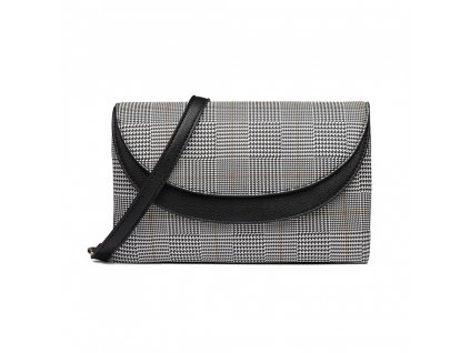 Elegantná crossbody kabelka - čierna kockovaná