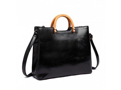 Štýlová elegantná kabelka s dreveným uchom - čierna