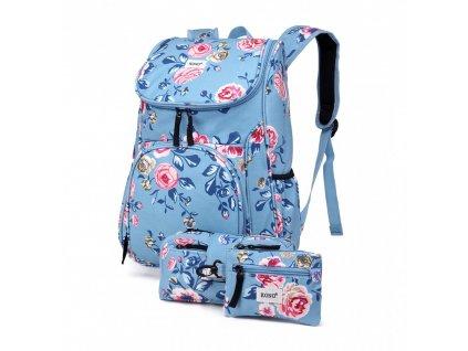 Školský batoh - Rose - s peňaženkou a peračníkom - svetlo modrý