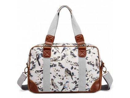 Malá cestovná taška - sivá vtáčiky
