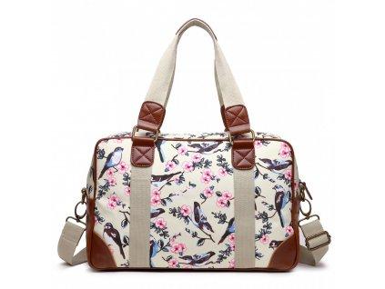 Malá cestovná taška - béžová vtáčiky