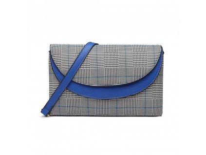 Elegantná crossbody kabelka - modrá kockovaná