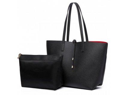 Obojstranná kabelka na rameno s kozmetickou taštičkou - čierno-červená