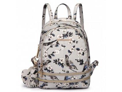 Roztomilý dizajnový batôžtek - sivý s vtáčikmi