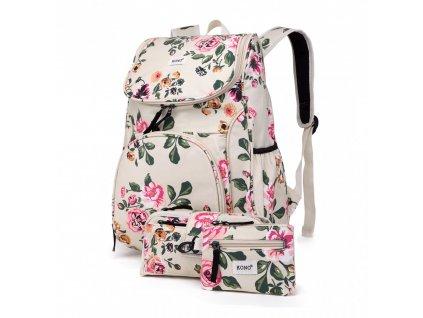 Školský batoh - Rose - s peňaženkou a peračníkom - béžový