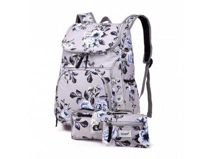 Školský batoh - Rose - s peňaženkou a peračníkom - sivý