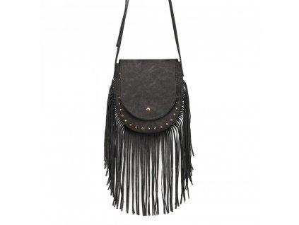 Crossbody kabelka so strapcami - čierna