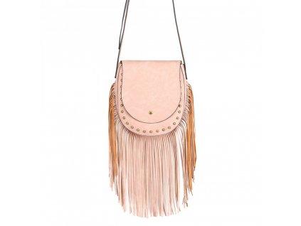 Crossbody kabelka so strapcami - ružová
