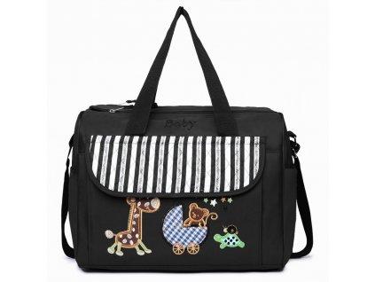 Prebalovacia taška Baby - čierna s obrázkom