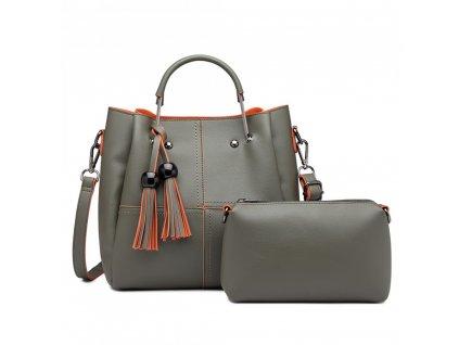 Luxusná dizajnová kabelka so strapcami - sivá s oranžovým