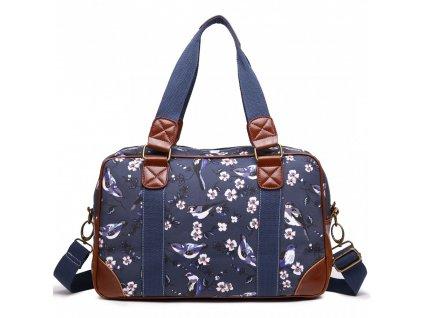Malá cestovná taška - Navy - vtáčiky