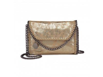 Štýlová crossbody kabelka s retiazkami - zlatá