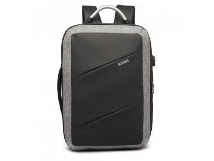 Multifunkčný nepremokavý pánsky batoh/taška s USB portom - čierny