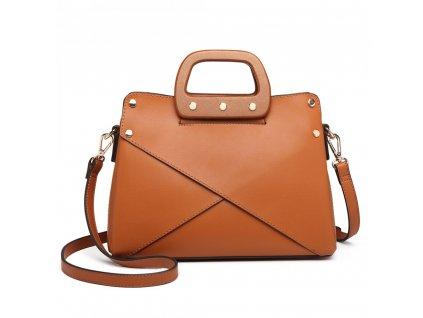 Luxusná elegantná kabelka s drevenou rukoväťou - hnedá