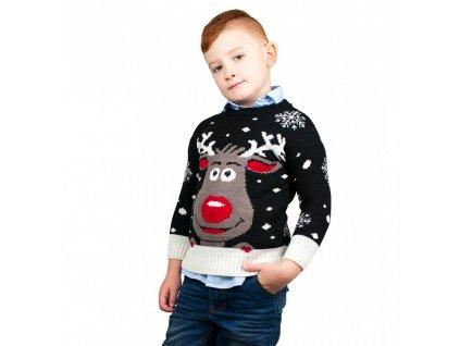 Detský vianočný sveter so sobom - čierny