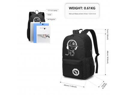 Chlapčenský svietiaci školský batoh - Senkey - čierny