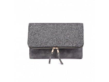 Trblietavá elegantná kabelka do ruky Dance - tmavo sivá
