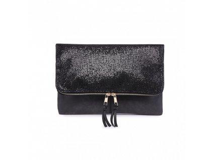 Trblietavá elegantná kabelka do ruky Dance - čierna