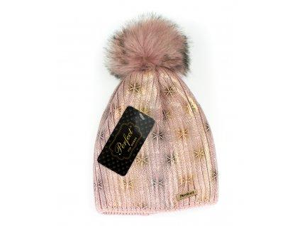 Dámska dizajnová čiapka ružová - zlatá potlač