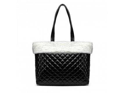 Lesklá elegantná kabelka s kožušinou - čierno-biela