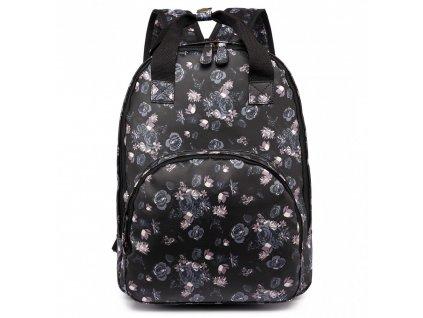 Dizajnový batoh na chrbát s potlačou - čierny - ruže