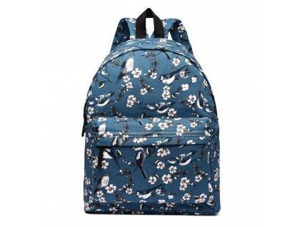 Batoh na chrbát s potlačou - tmavo modrý s vtáčikmi