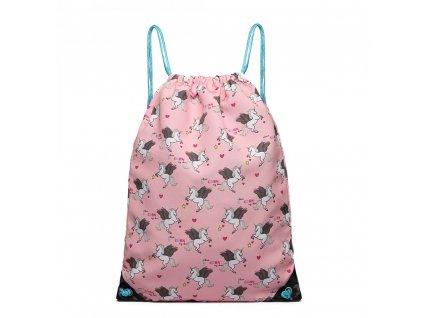 Vak na chrbát s jednorožcami - ružový