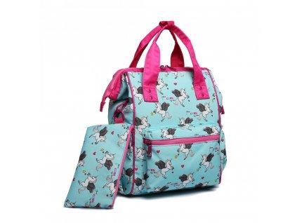 Univerzálny batoh s potlačou jednorožcov - modrý