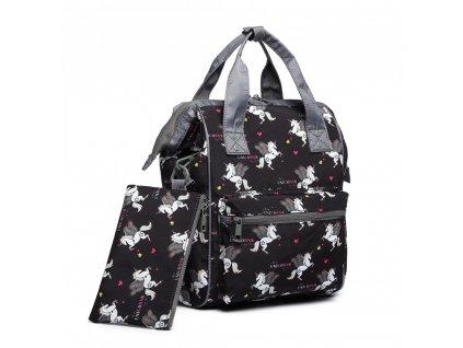 Univerzálny batoh s potlačou jednorožcov - čierny