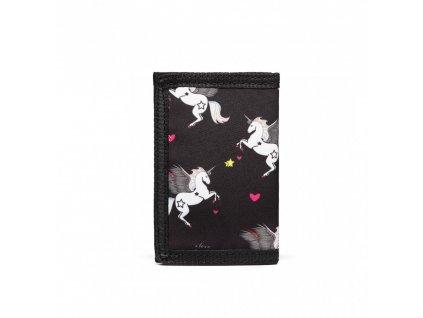 Detská peňaženka - jednorožci - čierna
